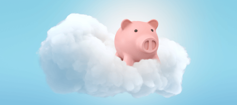 Cloud Accounting - piggy bank in the clouds